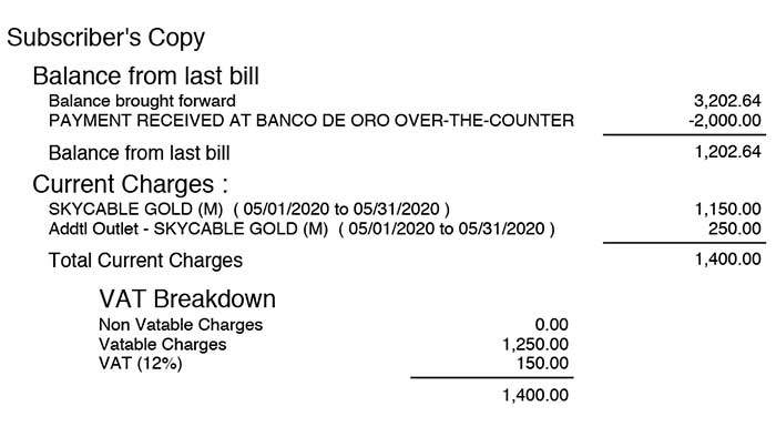 image of SKY bill showing previous month and current charges encircled in red