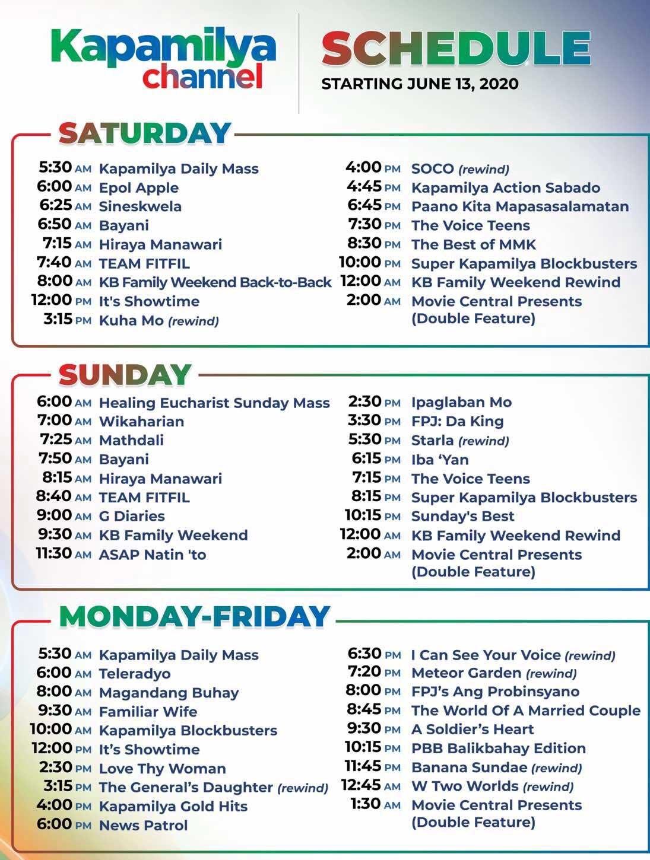 kapamilya channel schedule